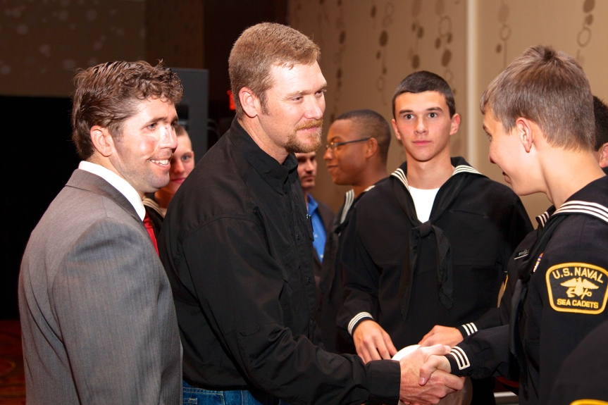 Lt. Jason Redman USN (ret) SEAL and Chief Petty Officer Chris Kyle USN(ret) SEAL great US Naval Sea Cadets in Baton Rouge, LA on November 9, 2013.